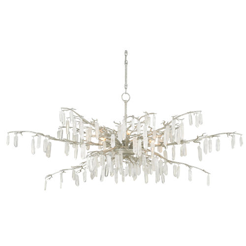 Textured Silver Eight-Light Chandelier