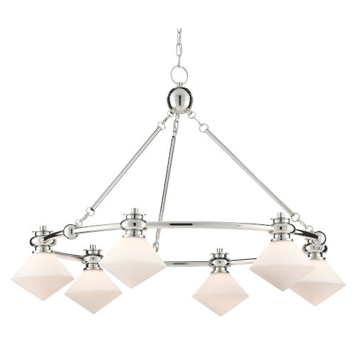 Rycroft Polished Nickel and White Six-Light Chandelier