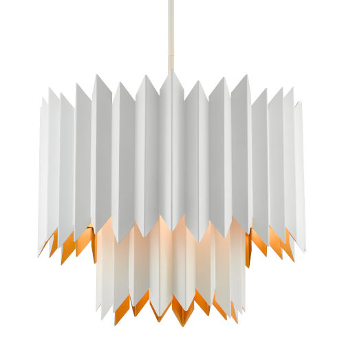 Syrie Sugar White and Gold Five-Light Chandelier