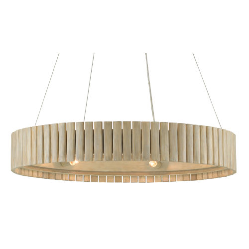 Tetterby Light Taupe and Smokewood Natural Bamboo Six-Light Chandelier