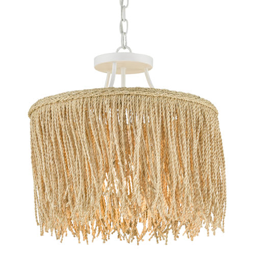 Samoa Gesso White and Abaca Rope One-Light Pendant