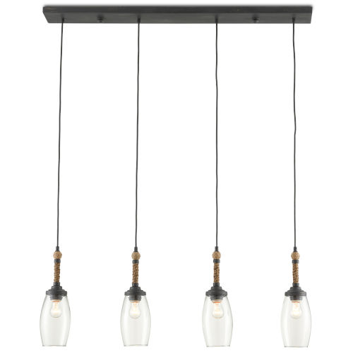 Hightider French Black and Natural Four-Light Chandelier