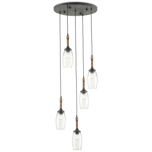 Hightider French Black and Natural Five-Light Pendant