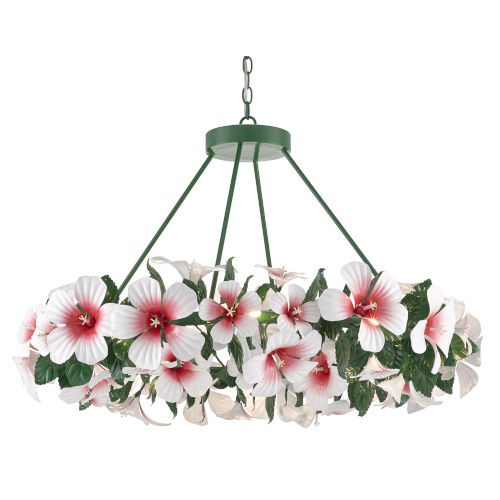 Miami Beach Glossy White, Pink and Green 20-Light Chandelier