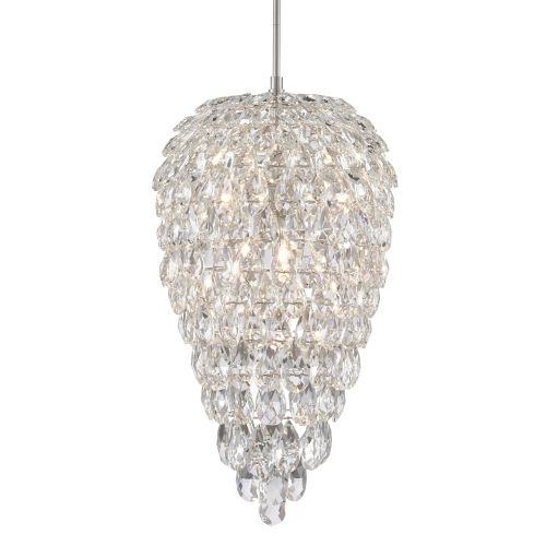 Aisling Clear Polished Nickel Seven-Light Crystal Pendant