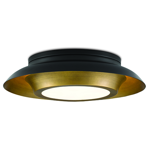 Metaphor Painted Antique Brass and Painted Black Three-Light Flush Mount