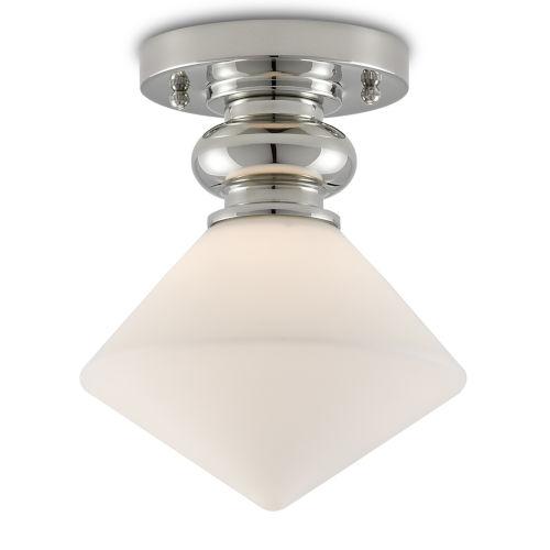 Rycroft Polished Nickel and White One-Light Flush Mount