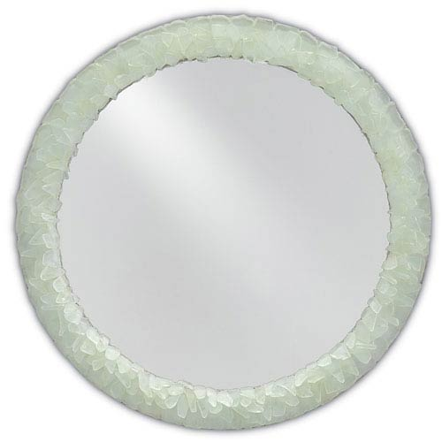 Currey & Company Arista Harlow Silver Leaf and Seaglass Round Mirror
