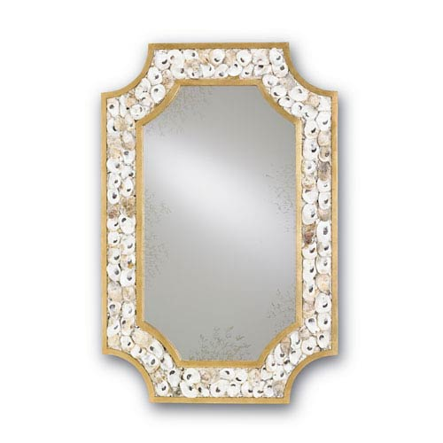Currey & Company Margate Gold Leaf and Natural Oyster Shell Mirror