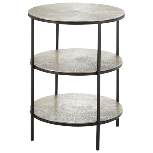 Cane Black and Pewter Accent Table
