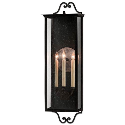 Giatti Pure Black Midnight Three-Light Outdoor Wall Sconce