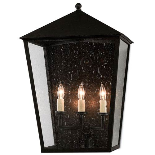 Bening Pure Black Midnight Three-Light Outdoor Wall Sconce