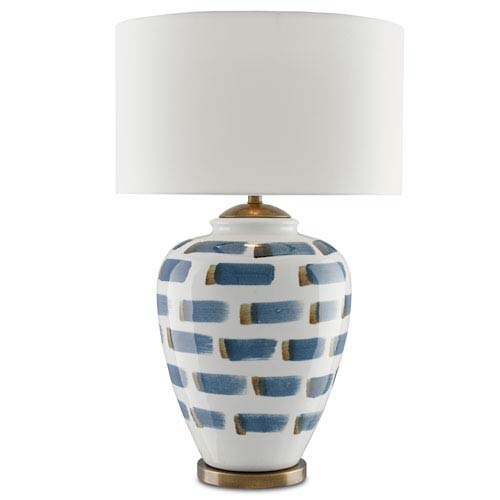 Currey & Company Brushstroke White and Blue and Antique Brass One-Light Table Lamp