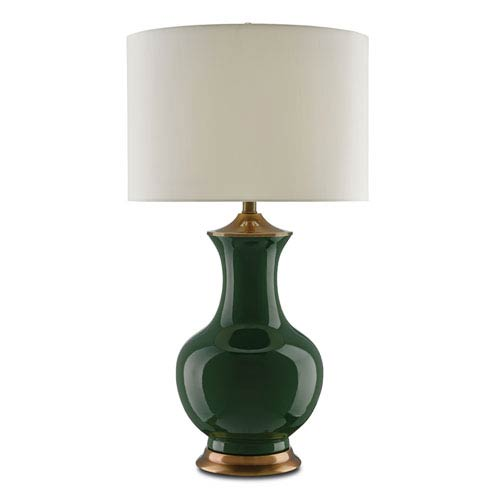 Lilou Green and Antique Brass One-Light Table Lamp