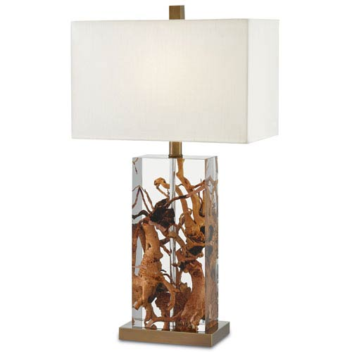 Durban Natural, Clear, and Antique Brass One-Light Table Lamp