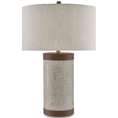 Beau Currey U0026 Company Baptiste Ivory And Brown And Brushed Brass One Light Table  Lamp