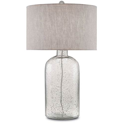 Lambeth Clear Speckled Glass and Steel Gray One-Light Table Lamp