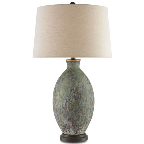 Green table lamps free shipping bellacor remi green dark red drip glaze and bronze gold one light table lamp aloadofball Choice Image