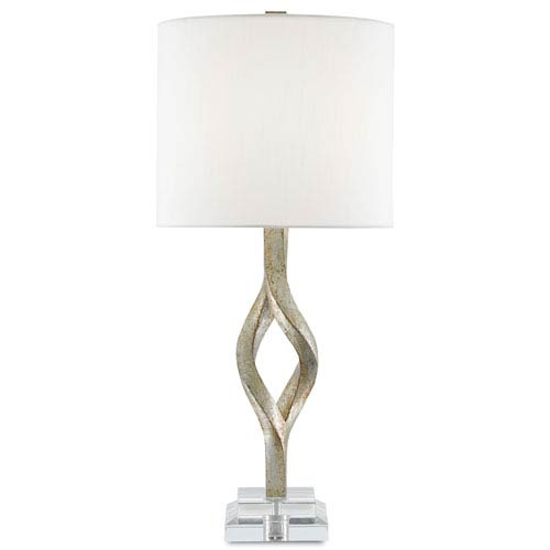 Currey & Company Elyx Chinois Silver Leaf and Clear One-Light Table Lamp
