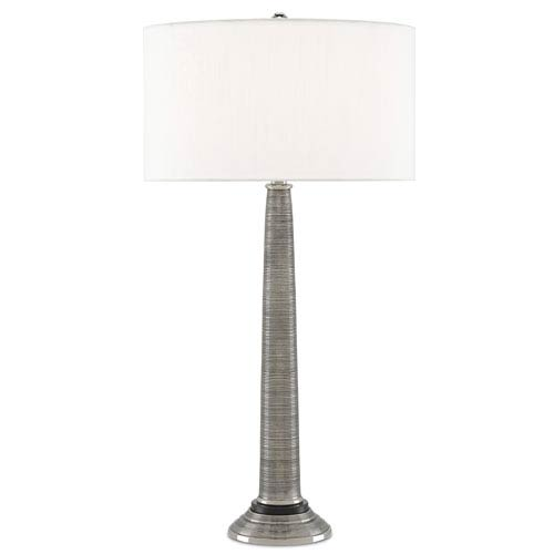 Currey & Company Spire Antique Nickel and Black One-Light Table Lamp