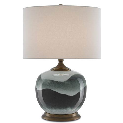 Boreal Green and Antique Brass One-Light Table Lamp