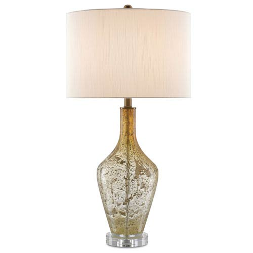 Habib Champagne Speckled Glass and Clear One-Light Table Lamp