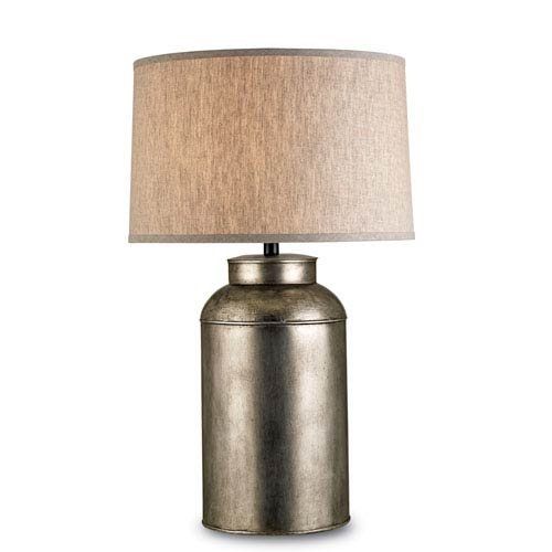 Currey & Company Pioneer Antique Nickel One-Light Table Lamp with Natural Linen Shade