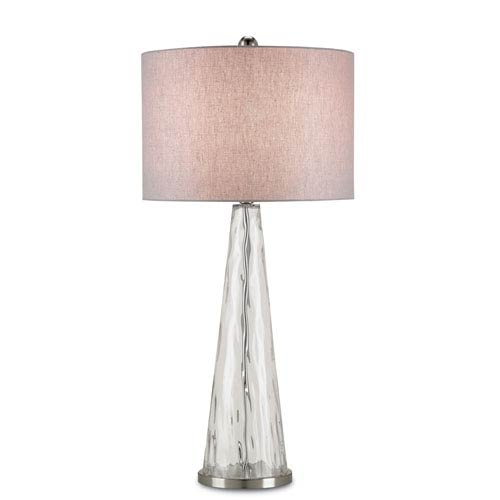 Hydra Weaved Clear and Satin Nickel One-Light Table Lamp