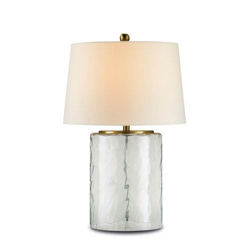 Clear Glass and Brass One-Light Oscar Table Lamp