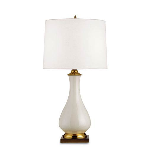 Currey & Company Lynton Cream Crackle/Brass One-Light Table Lamp with Off White Linen Shade