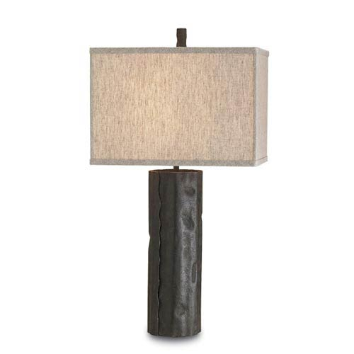 Caravan Mole Black One-Light Table Lamp with Natural Linen Shade