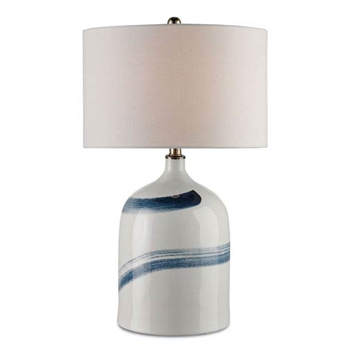 Essay Bone White and Blue One-Light Table Lamp