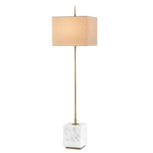 Thompson Brass and White One-Light Buffet Lamp