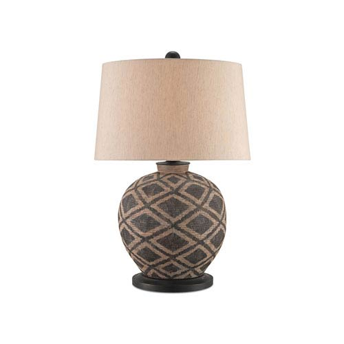 Afrikan Black and Tan One-Light Table Lamp