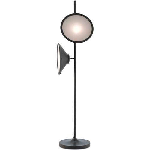 Bulat Antique Black and White Opaque Two-Light Floor Lamp