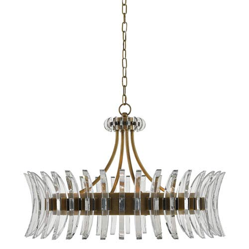 Currey & Company Coquette Antique Brass Eight-Light Chandelier