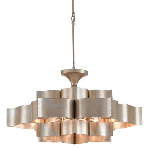 Grand Lotus Contemporary Silver Leaf Six-Light Chandelier