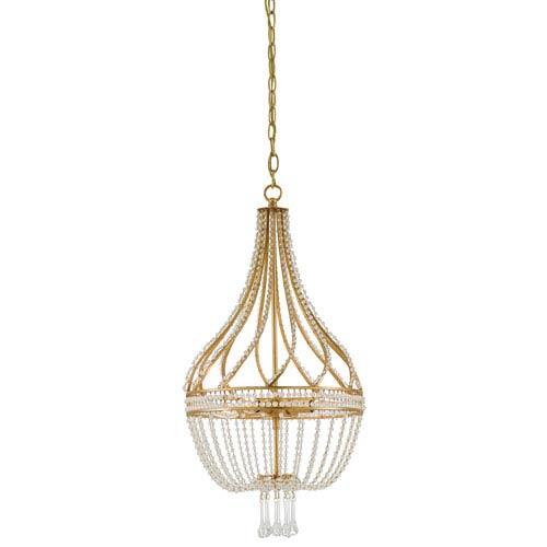 Currey & Company Ingénue Antique Gold Leaf Four-Light Chandelier - Currey & Company Ingénue Antique Gold Leaf Four Light Chandelier