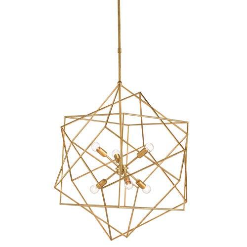 Aerial Antique Gold Leaf Six-Light Chandelier