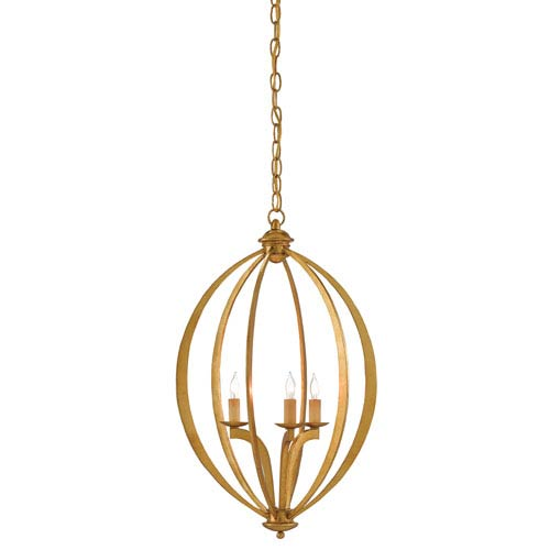 Bella Luna Antique Gold Leaf Three-Light Chandelier