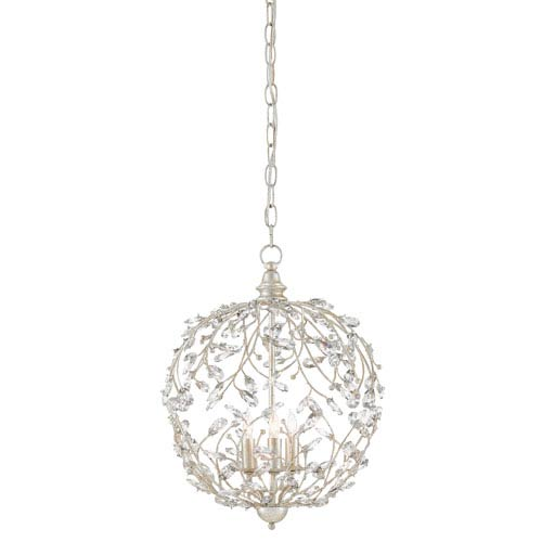 Currey & Company Crystal Bud Silver Granello Three-Light Chandelier