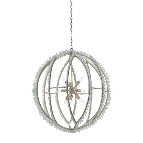 Currey & Company Saltwater Contemporary Silver Leaf and Seaglass Nine-Light Pendant