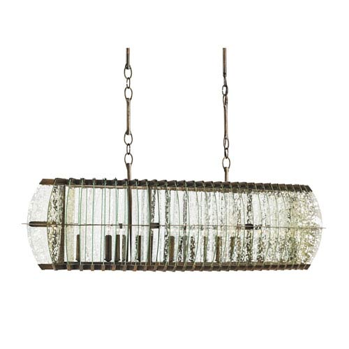Zanzibar Light Bronze Gold Twelve-Light Linear Pendant
