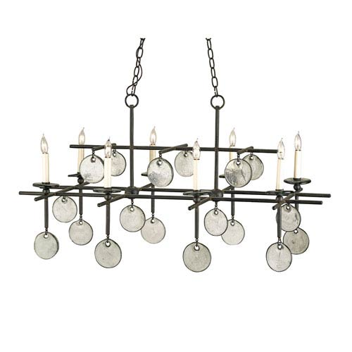 Sethos Old Iron/Recycled Glass Eight-Light Rectangular Chandelier
