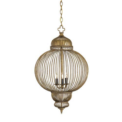Currey & Company Giltspur Rustic Gold/Antique Black Three-Light Chandelier