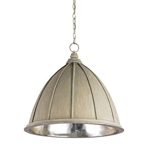 Currey & Company Fenchurch Oyster Cream/Silver Leaf One-Light Pendant