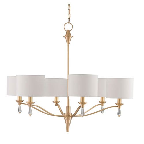 Currey & Company Bonnington Satin Brass Six-Light Chandelier