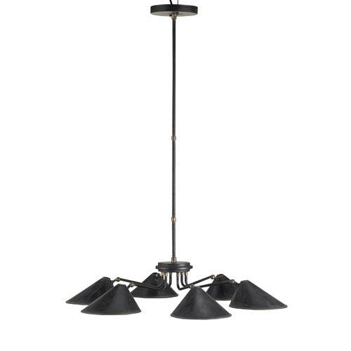 Currey & Company Fainlight Black Smith Six-Light Chandelier with Cupertino Interior Shade