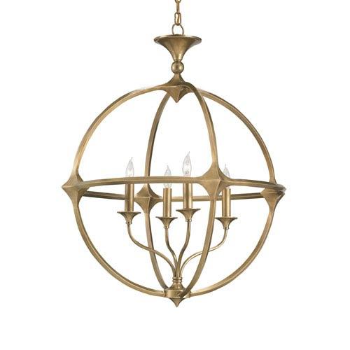 Currey & Company Bellario Orb Antique Brass Four-Light Chandelier