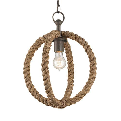 Bowline Natural Rust 14-Inch One-Light Rope Pendant